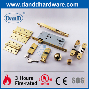 UL CE Certificate Fire Rated Satin Brass Building Hardware for Wooden Door-DDDH003