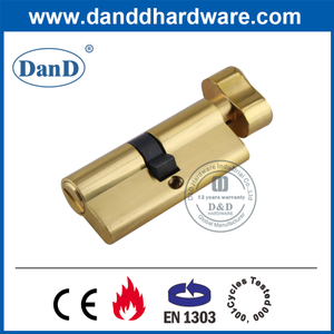 European Polished Brass Bathroom Lock Cylinder with Thumbturn-DDLC007